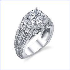 1.42ct Diamond Ring; PLATINUM with HALO design Euro Shank Flat Bottom Semi Mount