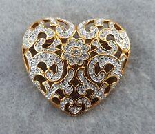 Swarovski Pave Crystal Heart Pin Brooch Signed Retired