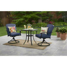 Patio Bistro Furniture 3 Piece Table Chairs Outdoor Porch Garden Backyard, Blue