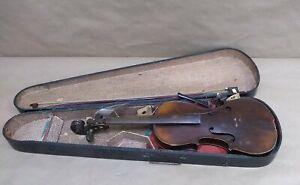 """Vintage 23.5"""" Damaged Violin & Bow in Case"""