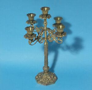 Vintage Gilded Five Candle Brass Candelabra
