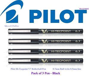 3 x Pilot Hi-TecPoint V7 0.7mm Liquid Ink Rollerball  BLACK Colour Pen