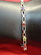 CUTE STERLING SILVER BRACELET WITH 5 DIFF. COLORED GEMSTONES - WELL MADE & NICE!