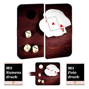 Motorola Moto X4 Handy Hülle Tasche mit Spielkarten - Würfel + Fotodruck Etui