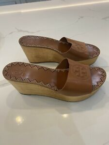 Tory Burch Tan Leather Wooden Clogs/UK 6