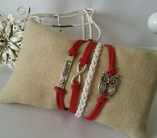 Fashion Retro Leather Bracelet Red White Infinity Owl Charm Jewelry Silver US