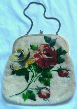 vintage beaded bag handbag glass beaded red rose cream cocktail bag