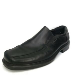ECCO Bicycle Toe Black Leather Slip On Loafer Casual Shoes Mens 44 EU 10-10.5 US