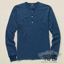 $225 RRL Ralph Lauren Rinsed Blue Indigo STAR COTTON JERSEY HENLEY-XL