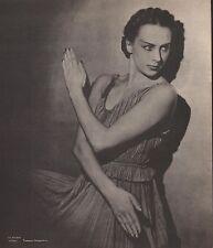 """TAMARA GRIGORIEVA, Ballet Russe in """"Les Presages"""" Or. Halftone Portrait 1948"""