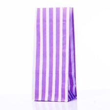 "Purple Stripe Pick n Mix Paper Bags 4"" x 9.5"" + 3"" Pack Of 100"