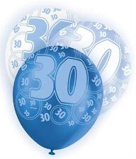 Blue Glitz 30th Birthday Age 30 Pack 6 Latex Party Balloons Suit Air Or Helium