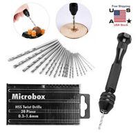 21X Mini Tiny Micro Hand HSS Twist Drill Bits Set 0.3-1.6mm Bit Spiral Vise DIY