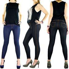 Jeans Optik Damen Leggings Hose Leggins Treggings M L XL XXL XXXL 4XL 5XL lang