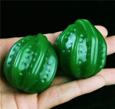 natural china pair walnut exercise ball green hetian jade jasper chinese amulet