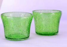 Candle Holders Crackle Glass Wedding Yankee Green Tea Light Votive Set of 2 Gift