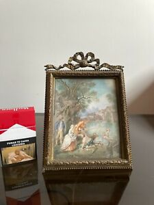 VERY Old NICE 19th Century Miniature Hand Painting Large! Bronce Picture Frame