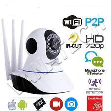 TELECAMERA IP CAMERA HD 720P WIRELESS LED CAM  MOTORIZZATA WIFI RETE 3 ANTENNE