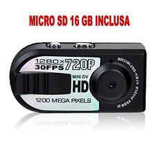MINI TELECAMERA PORTATILE DIGITALE HD 720p +SD16GB RILEVATORE MOVIMENTO 1280x720