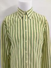 BURBERRY LONDON Green Yellow Striped Men's Casual 100% Cotton Shirt Men's Large