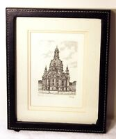 DRESDEN FRAUENKIRCHE (Church of Our Lady) Signed & Titled Etching Germany