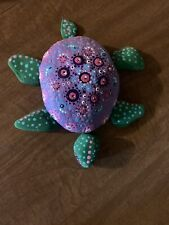 hand painted Garden rock stone art Turtle
