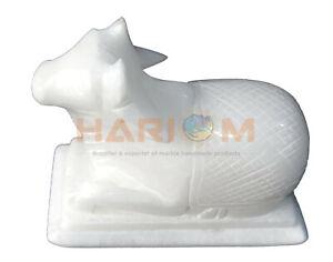 White Marble Nandi Sculpture Hindu Religious Figure Handmade Spiritual Gift T008