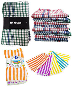 100% Cotton Check Tea Towels Set Kitchen Cleaning Dish Cloths Drying Packs
