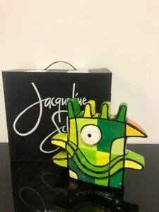 """Jacqueline Schäfer, """"Green Bird"""" - Signed Ltd Ed Resin Sculpture; Acrylic Paint"""
