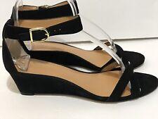 J.Crew Black Suede Demi Wedge Sandal Ankle Strap Size 7 Excellent