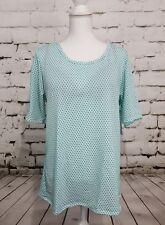 LuLaRoe Gigi Fitted Shirt Turquoise Polka Dots White  3XL NWT