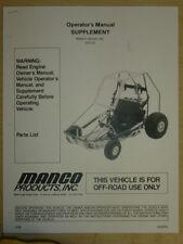 Manco Model 810-03 Go Kart Parts List Operators Manual Cart