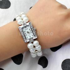 Reloj Brazalete Pulsera Cristal Perla Falsa para Mujer Chica Accesorio Práctico