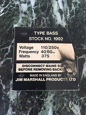 1968 1969 1970 1971 1972 1973 Marshall Super Bass no Lead! Amp Plate Badge Rare!