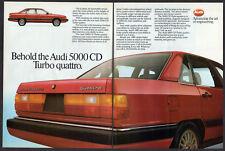 1985 AUDI 5000 CD Turbo Quattro Vintage Original Print AD Red car photo 2 pages
