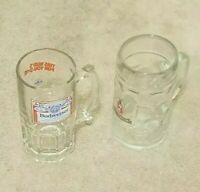 """SET OF 2 VINTAGE 1 LITER BUDWEISER & BECKS GLASS BEER MUGS W/HANDLES. 8"""" TALL."""