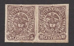 Colombia States Tolima #36 Mint OG Error Imperf Pair 10 cent Instead of 5 cent
