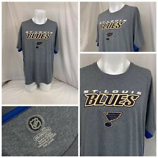 St. Louis Blues Shirt 2XL Gray Fanatics 100% Poly Short Sleeve LNWOT YGI U0-591