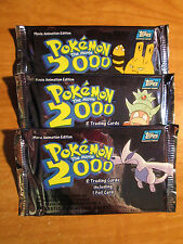 3 Sealed POKEMON THE MOVIE 2000 Booster TOPPS Pack TV Animation Edition Card Box