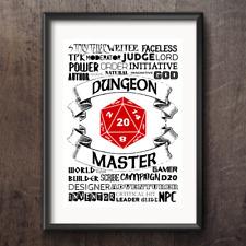 D&D RPG Dungeon Master D20 Word Art Wall Decor Print Gamer Role Play DM