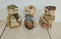 Three Little Pigs Paper Mache Pigs Small Vintage Figurines
