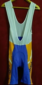 Men's Cycling Bib Shorts the size L Blue with yellow
