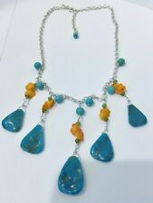 """Turquoise Coral Sterling Bib Necklace, 19"""" Sterling Turquoise Coral Bib Necklace"""