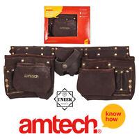 Belt Pouch 12 Pocket Heavy Duty Deluxe Tanned Leather Double Tool Amtech - N1055