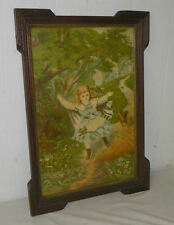 Antique Victorian Print of Young Girl Playing with her Dog