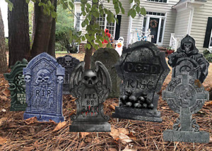 10 PCS Halloween Yard Signs Tombstone Outdoor Lawn Headstone Yard Decorations