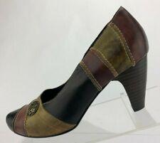Spring Step Heels Pumps Black Brown Casual Shoes Comfort Womens Sz 37 US 6.5/7