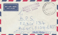 1987 Australia airmail envelope no stamp so Underpaid cachet in violet, nice