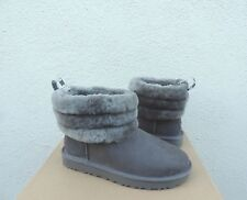 UGG CLASSIC FLUFF MINI QUILTED SUEDE/ SHEEPSKIN BOOTS, WOMEN US 7/ EUR 38 ~ NEW