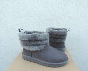 UGG CLASSIC FLUFF MINI QUILTED SUEDE/ SHEEPSKIN BOOTS, WOMEN US 8/ EUR 39 ~ NIB